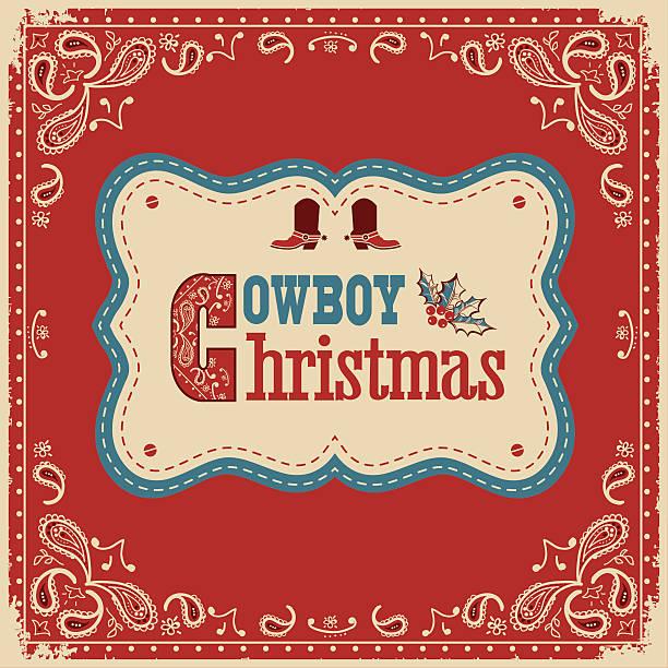 cowboy christmas card with text on board - cowboystiefel stock-grafiken, -clipart, -cartoons und -symbole