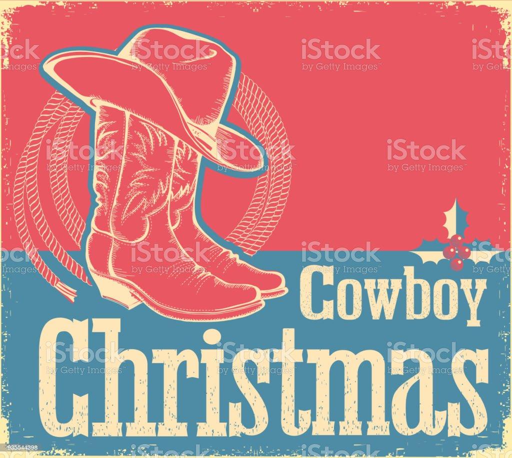 Cowboyweihnachtskarte Mit Westlichen Schuhen Und Hut Stock Vektor ...