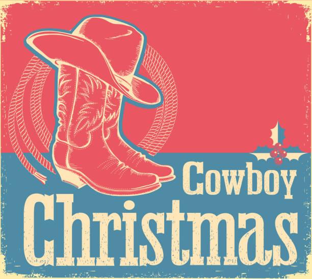 cowboy-weihnachtskarte mit westlichen schuhen und hut - cowboystiefel stock-grafiken, -clipart, -cartoons und -symbole