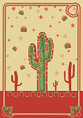Cowboy christmas poster with cactus and rope frame for text