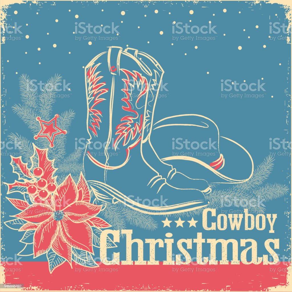 Cowboy Christmas retro card with american western shoes and cowboy hat on old paper texture vector art illustration