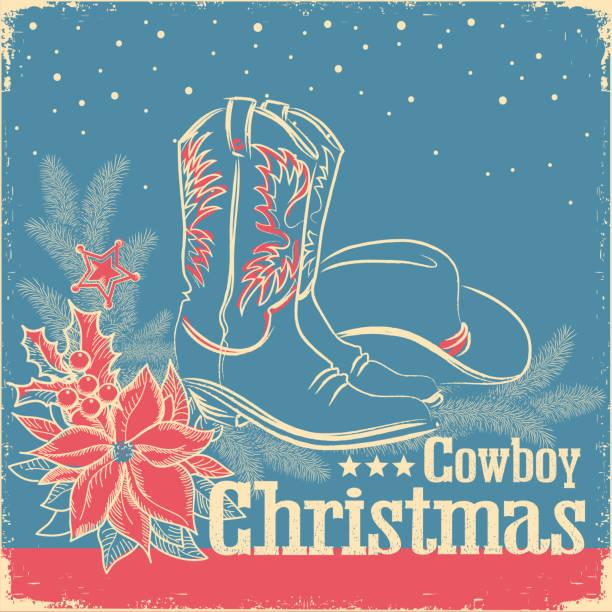 cowboy retro-weihnachtskarte mit amerikanischen westlichen schuhen und cowboy-hut auf alten papierstruktur - cowboystiefel stock-grafiken, -clipart, -cartoons und -symbole