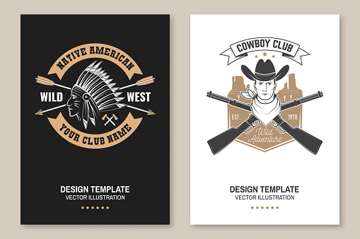 Cowboy club poster, flyer. Ranch rodeo. Vector. Concept for shirt, emblem, print, stamp, tee with cowboy and shotgun. Vintage typography design with american canyon silhouette
