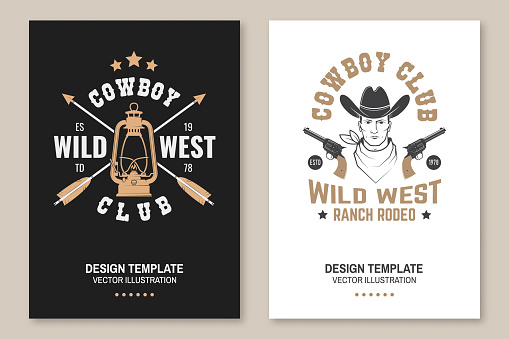 Cowboy club poster, flyer. Ranch rodeo. Vector. Concept for shirt, emblem, print, stamp, tee with cowboy and gun. Vintage typography design with lantern lamp