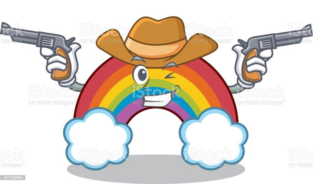 Cowboy colorful rainbow character cartoon cowboy colorful rainbow character  cartoon - immagini vettoriali stock e altre c383beab8b83