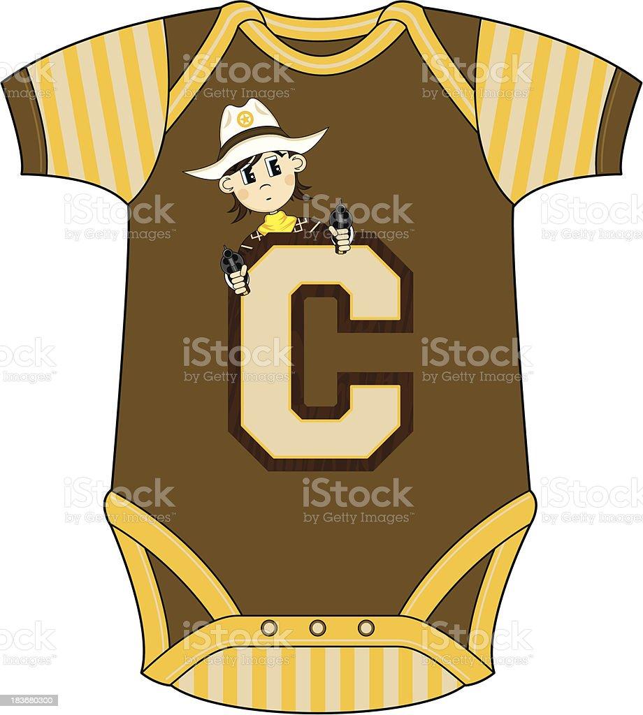 Cowboy Design Babies Sleepsuit royalty-free stock vector art