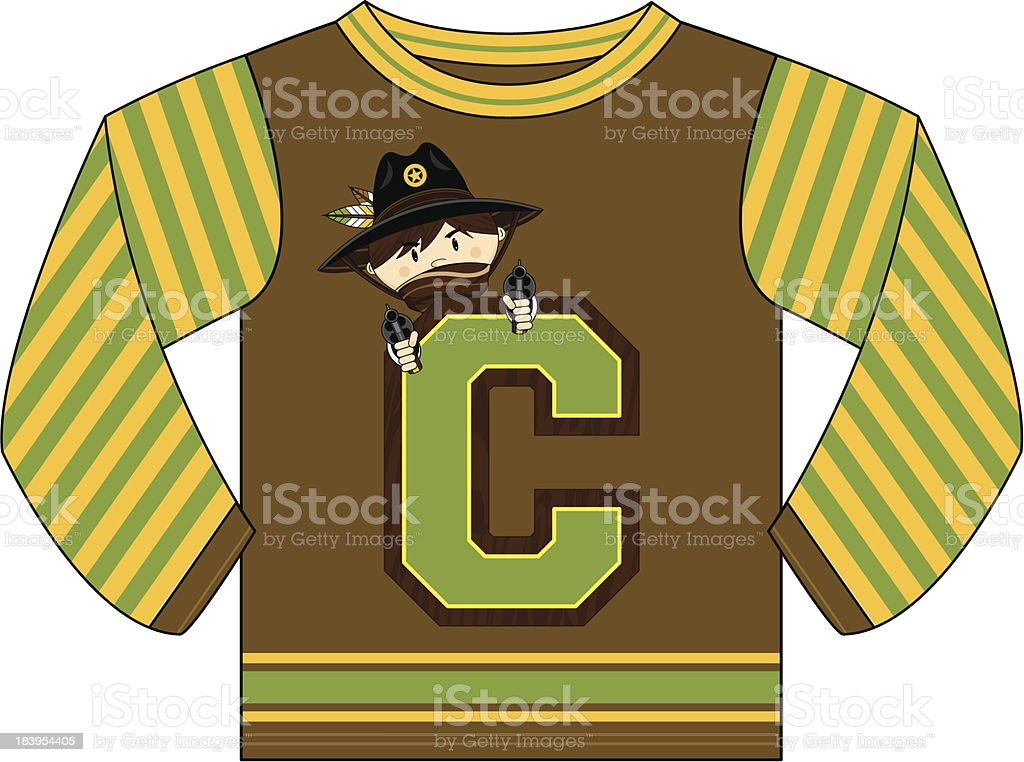 Cowboy Design Kids Hoodie royalty-free stock vector art