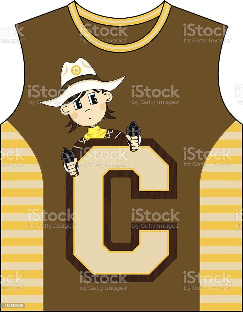 Cowboy Design Kids Vest royalty-free stock vector art