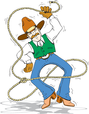 Cowboy doing rope trick