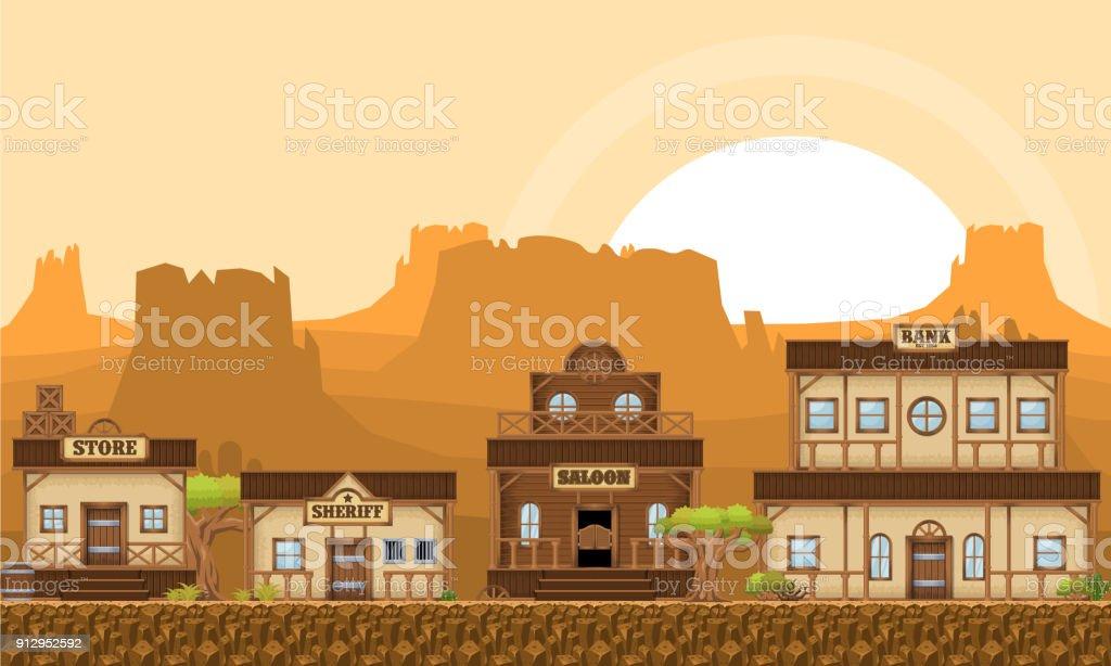 Cowboy Game Tileset vector art illustration