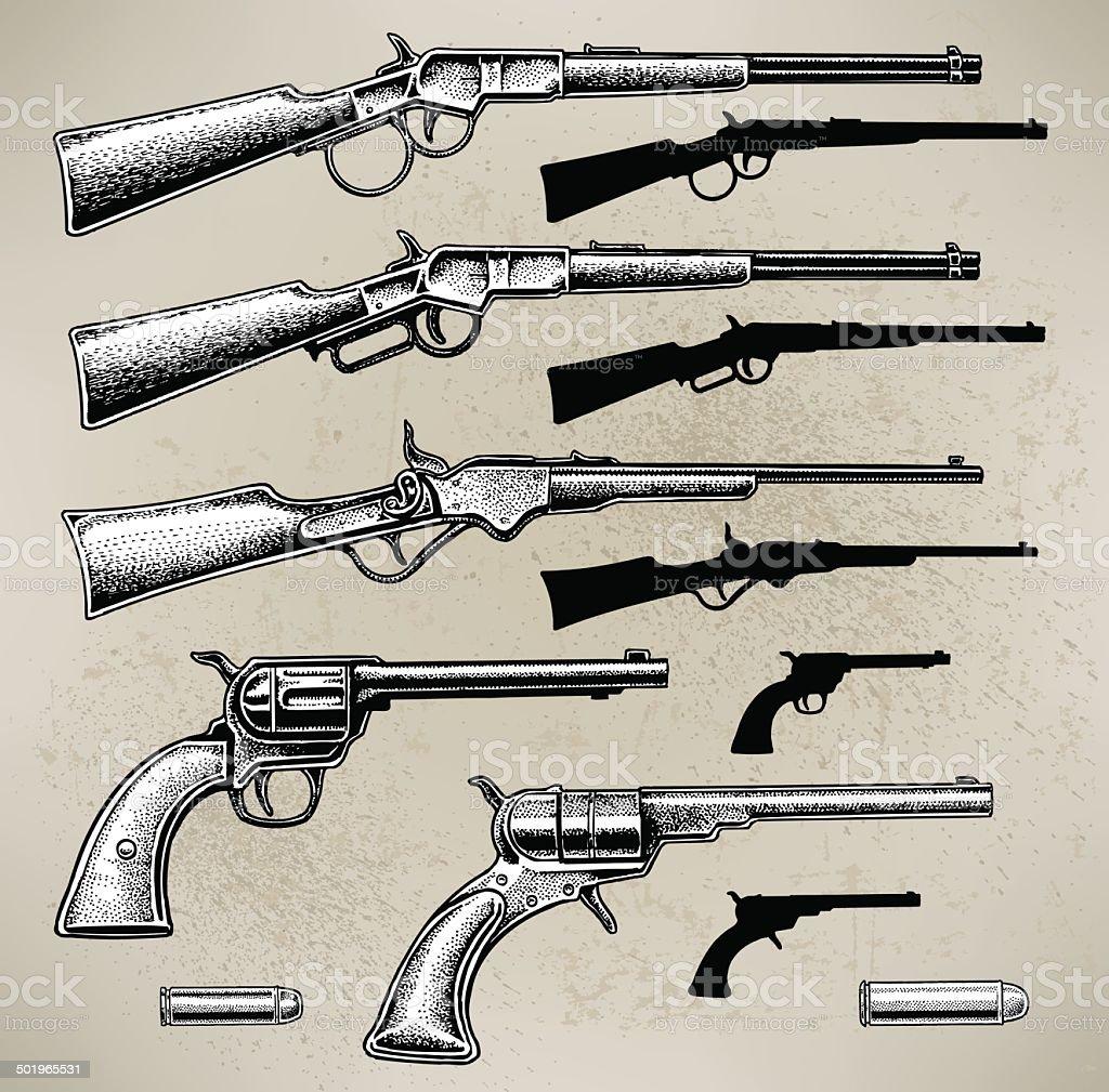 Cowboy Guns vector art illustration