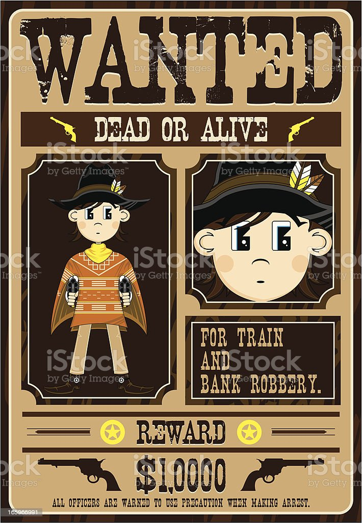 Cowboy Gunslinger Wanted Poster royalty-free stock vector art