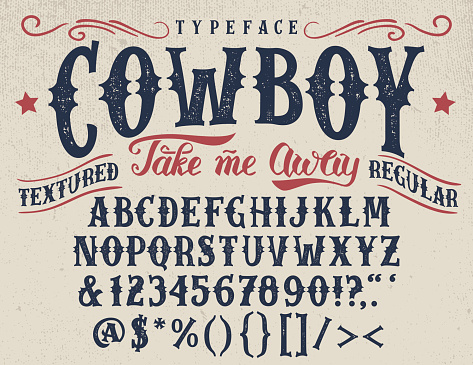 Cowboy handcrafted retro textured typeface