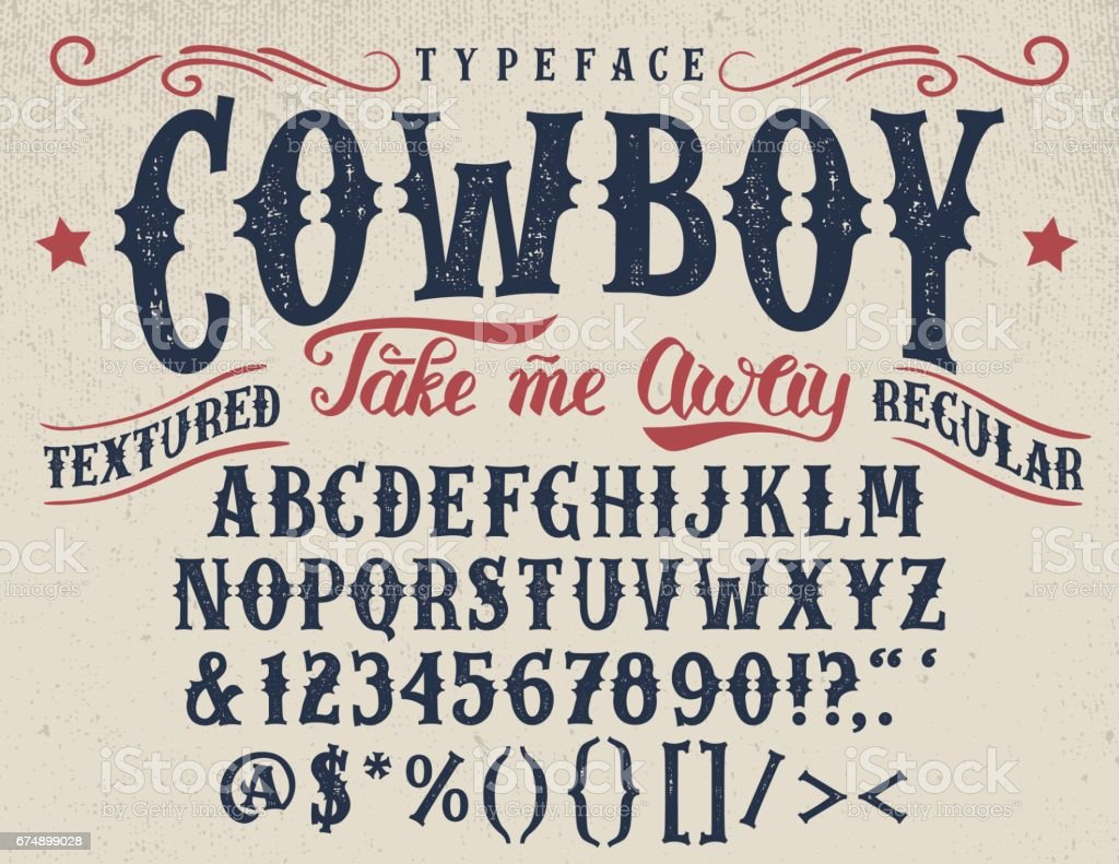 Cowboy handcrafted retro textured typeface vector art illustration