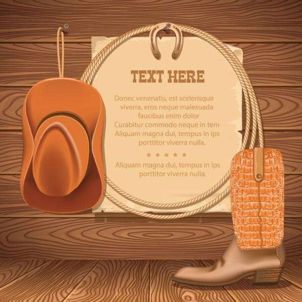 ilustraciones, imágenes clip art, dibujos animados e iconos de stock de sombrero de vaquero y americana lasso. papel antiguo vector de texto sobre madera del walll - rodeo