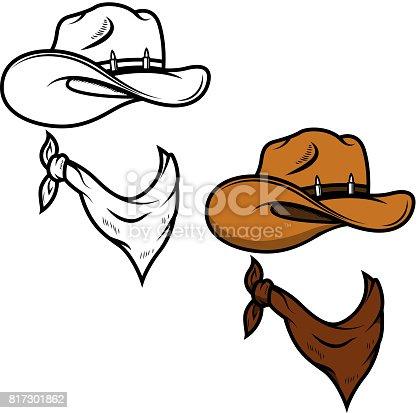 Cowboy hat and bandana isolated on white background. Vector illustration
