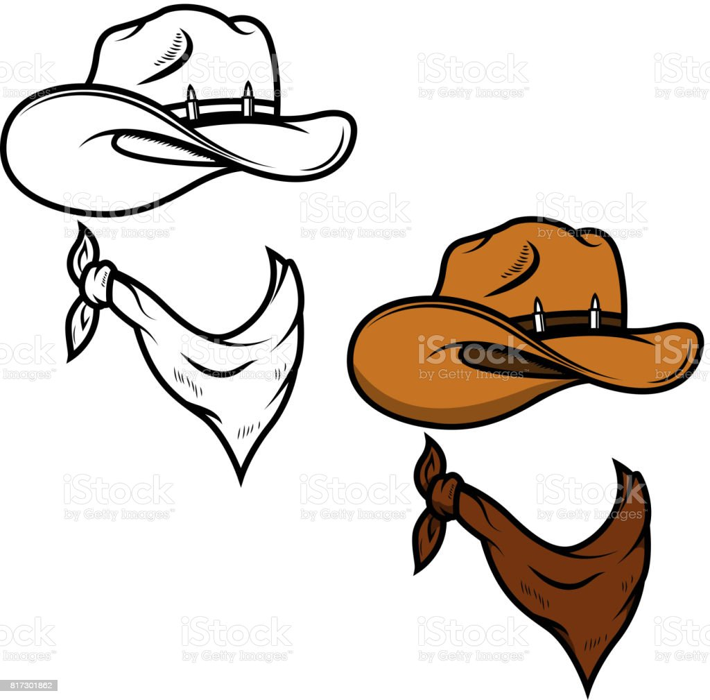Cowboy hat and bandana isolated on white background. Vector illustration vector art illustration
