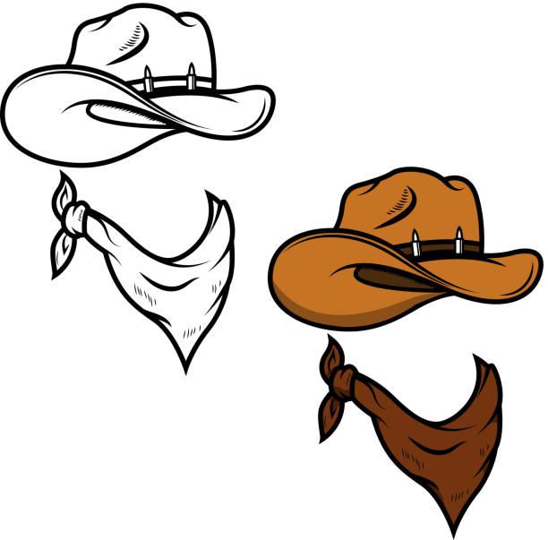 Cowboy hat and bandana isolated on white background. Vector illustration Cowboy hat and bandana isolated on white background. Vector illustration bandit stock illustrations