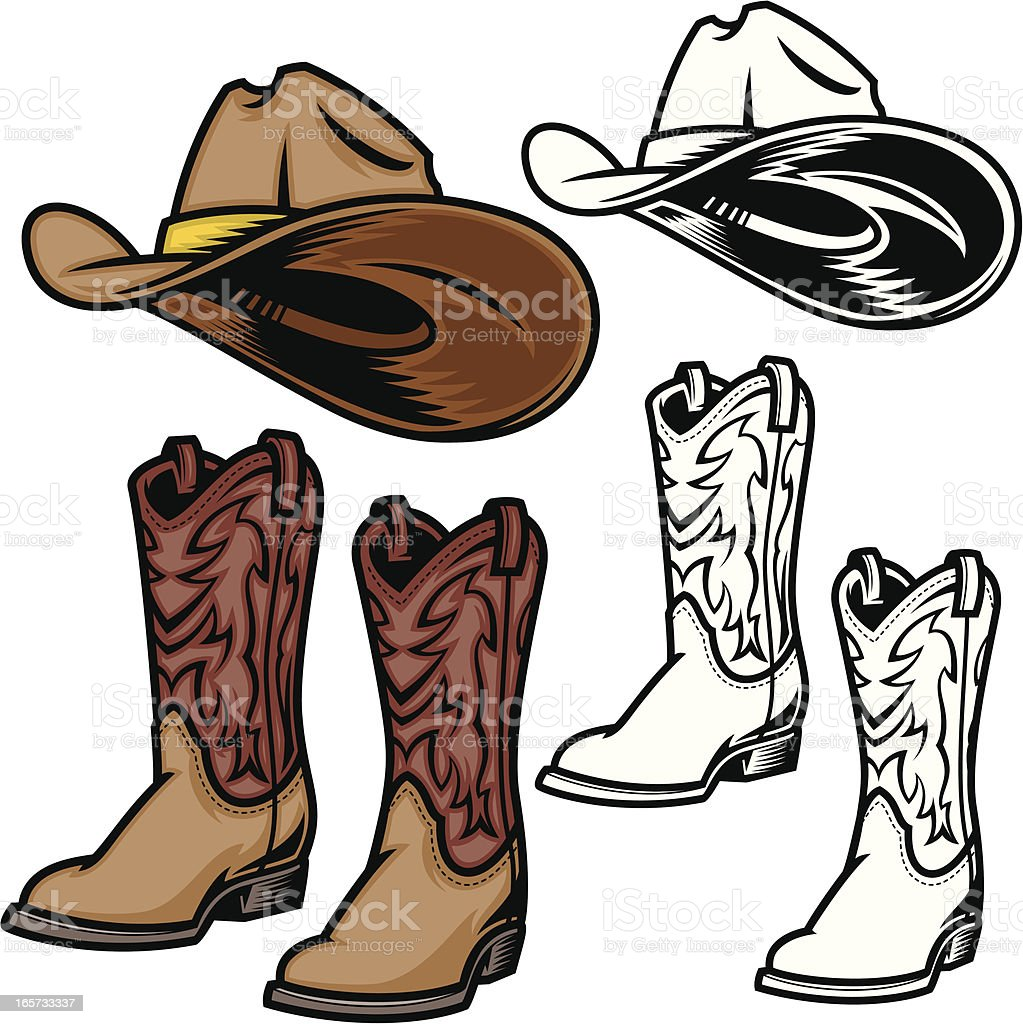 Cowboy Hat and Boots vector art illustration