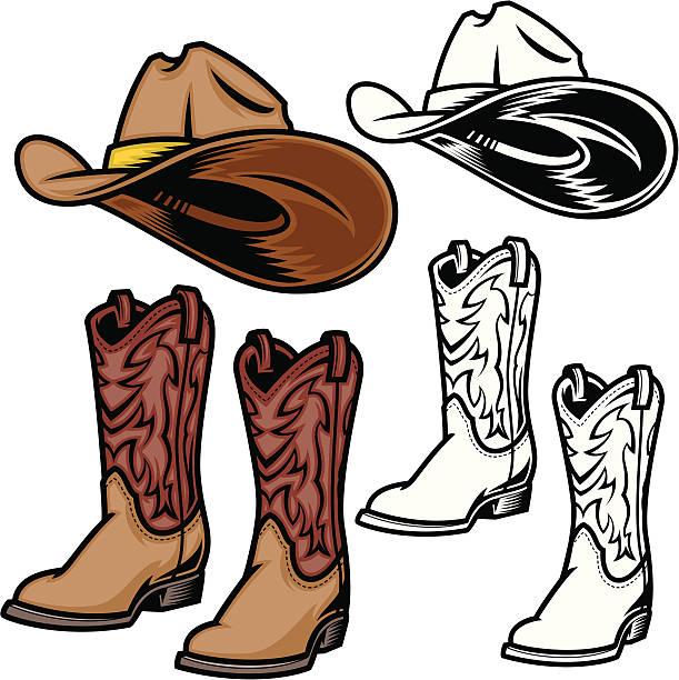 cowboy-hut und schuhe - cowboystiefel stock-grafiken, -clipart, -cartoons und -symbole
