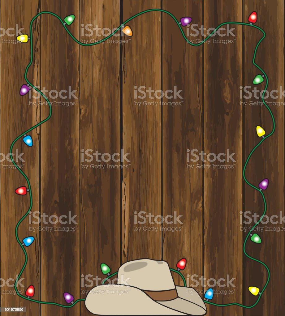 Cowboy Hat and Christmas Lights vector art illustration