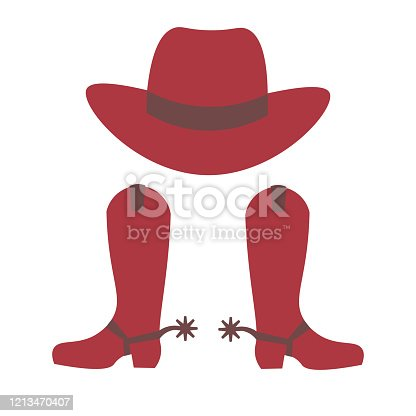 Cowboy hat and cowboy boots with spurs isolated on white background