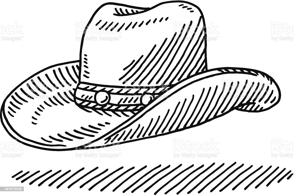 Cowboy Hat Drawing vector art illustration
