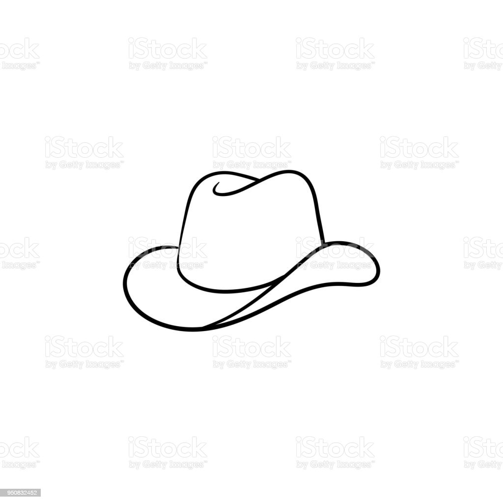 Cowboy hat hand drawn sketch icon vector art illustration