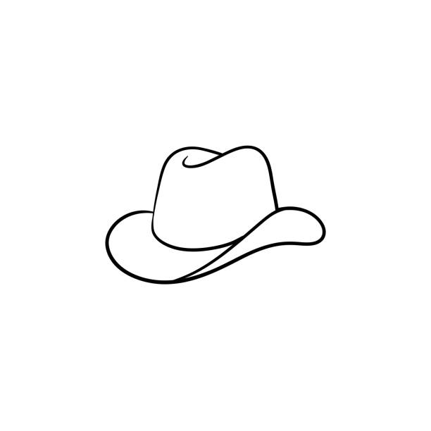 Cowboy hat hand drawn sketch icon Cowboy hat hand drawn outline doodle icon. Western cowboy hat vector sketch illustration for print, web, mobile and infographics isolated on white background. rancher illustrations stock illustrations