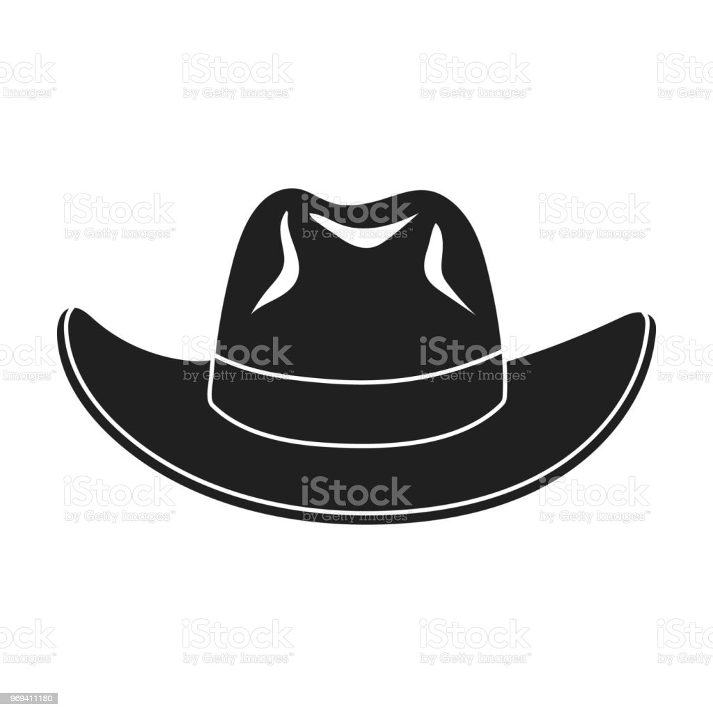 Cowboy Hat Icon In Black Style Isolated On White Background Hats