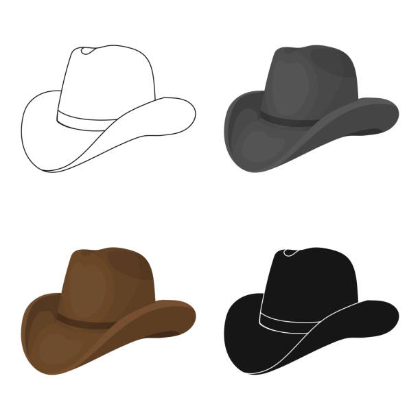 Cowboy hat icon in cartoon style isolated on white background. Rodeo symbol stock vector web illustration. Cowboy hat icon in cartoon style isolated on white background. Rodeo symbol stock vector illustration. rancher illustrations stock illustrations