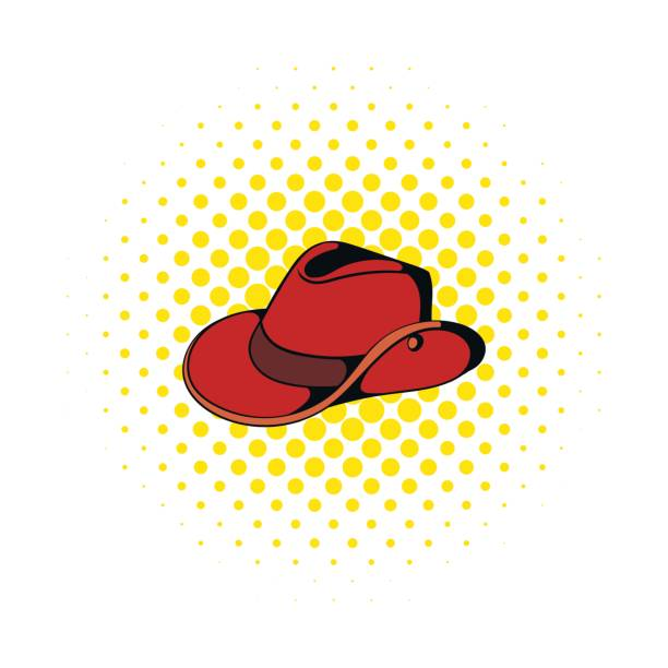 Icono del sombrero de vaquero estilo de comics - ilustración de arte  vectorial 411f4ee1e2f