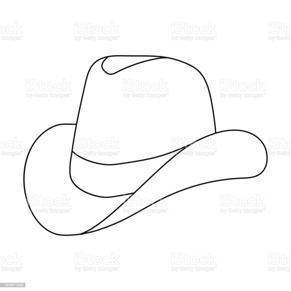 Cowboy Hat Icon In Outline Style Isolated On White ...