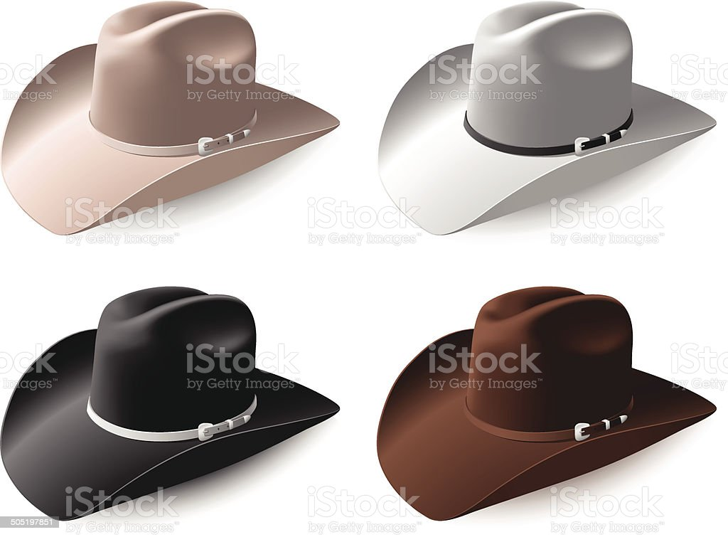 Cowboy hat set eps8 vector art illustration