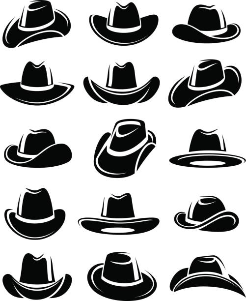 Cowboy hat set. Vector Collection cowboy hat set, edit size and color, vector rancher illustrations stock illustrations