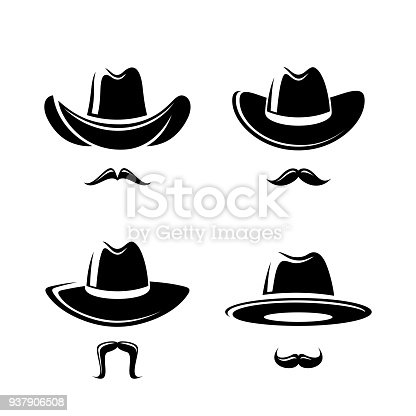 Collection cowboy set, edit size and color, vector