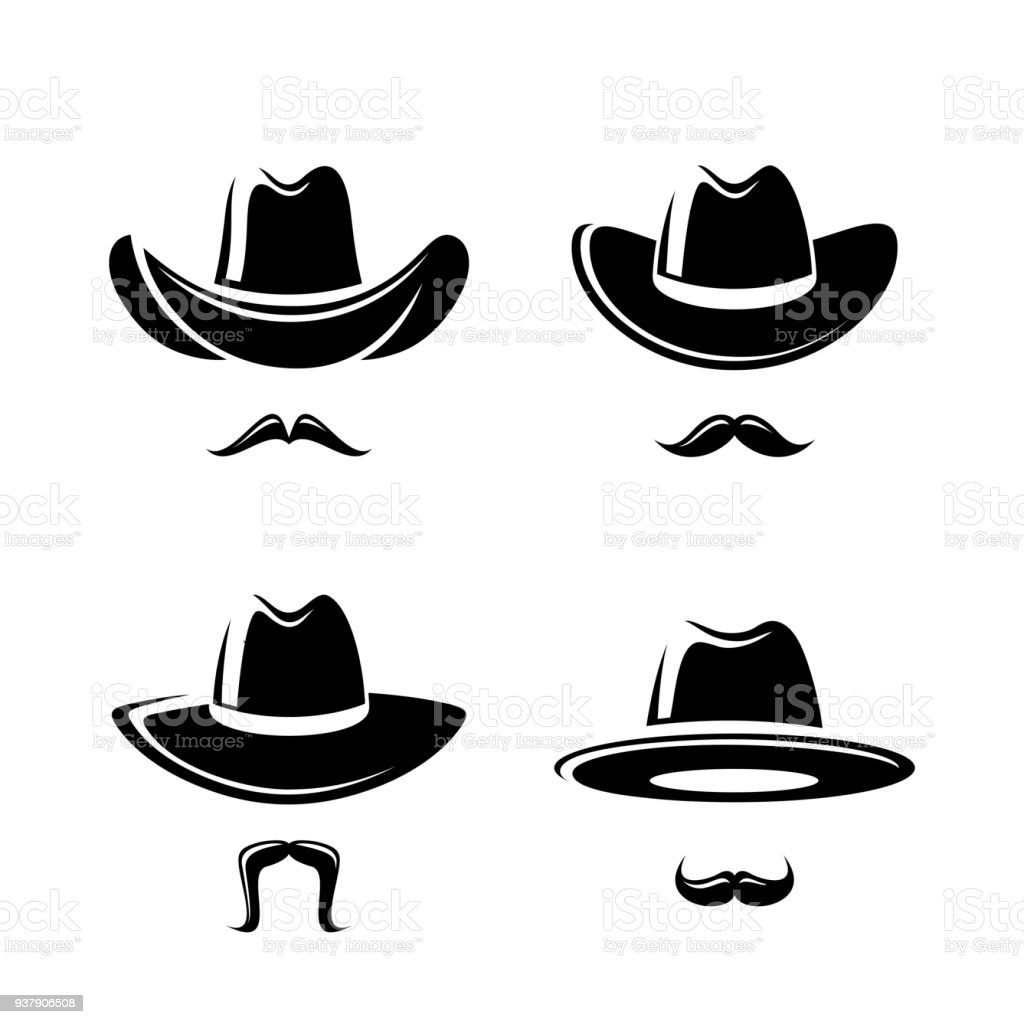 Cowboy hat set. Vector vector art illustration