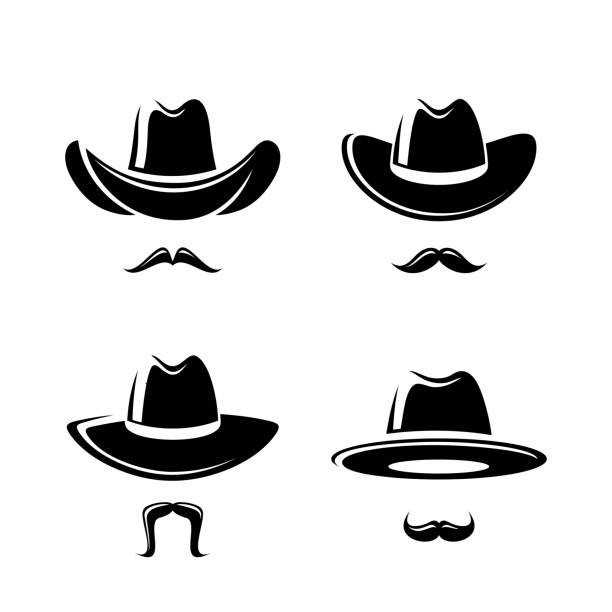 Cowboy hat set. Vector Collection cowboy set, edit size and color, vector rancher illustrations stock illustrations