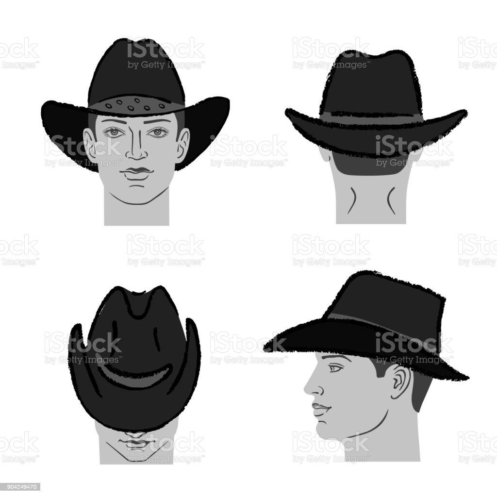 Ilustración de Cabeza De Plantilla Y El Hombre De Sombrero De ...