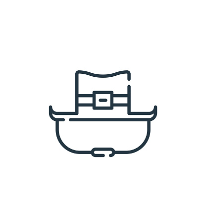 cowboy hat vector icon isolated on white background. Outline, thin line cowboy hat icon for website design and mobile, app development. Thin line cowboy hat outline icon vector illustration.