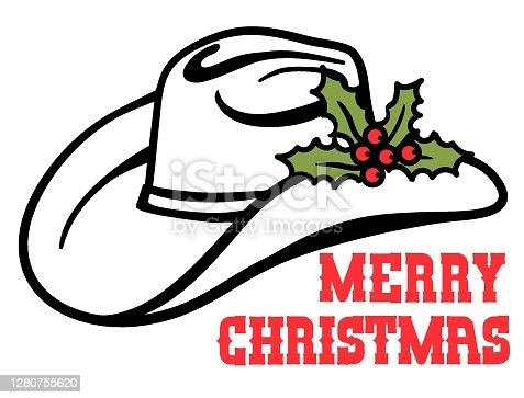 istock Cowboy hat with Christmas holly berry and text. Country Christmas holiday symbol of Vector illustration isolated on white 1280755620