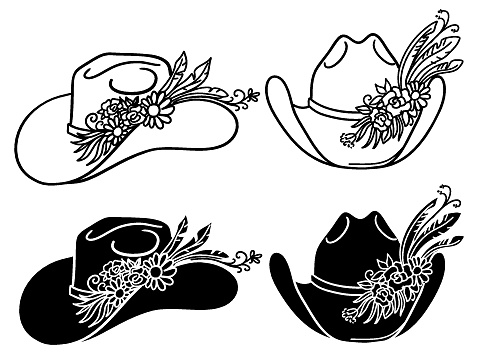 Cowboy hat with flowers. Set of vector Western hats floral isolated on white