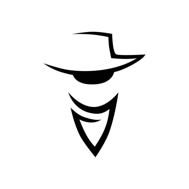 Cowboy head icon on white Abstract cowboy head icon, icon on white background bandit stock illustrations