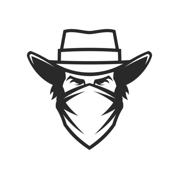Cowboy head in hat and bandana - cut out vector icon Cowboy male head in hat and bandana on face - cut out vector icon rancher illustrations stock illustrations