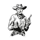 istock Cowboy Holding Revolvers 1003199948