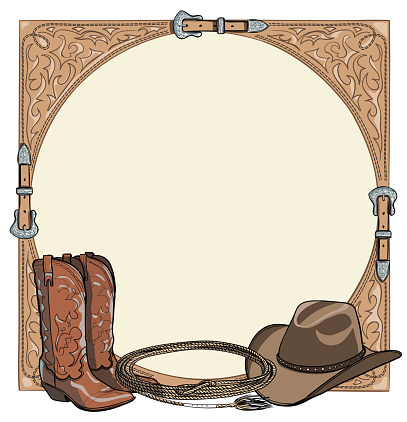 Cowboy horse equine riding tack tool in the western leather belt frame. Western boot, hat, lasso rope.