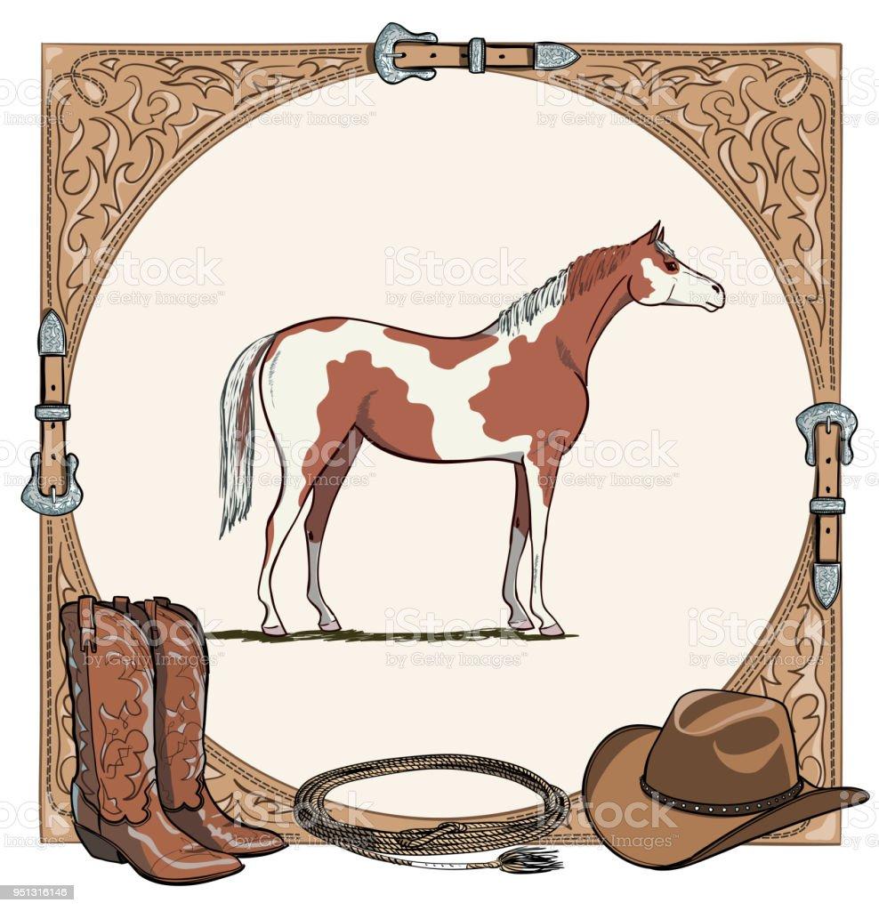 Cowboy Pferd Pferde Reiten Tacktool In Der Westlichen Leder Gürtel ...
