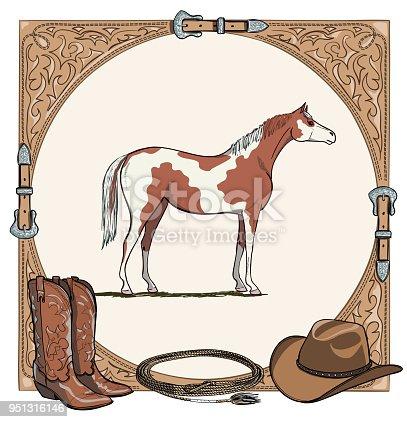 Ilustración de Vaquero Caballo Equino Caballo Tack Esta Herramienta ...