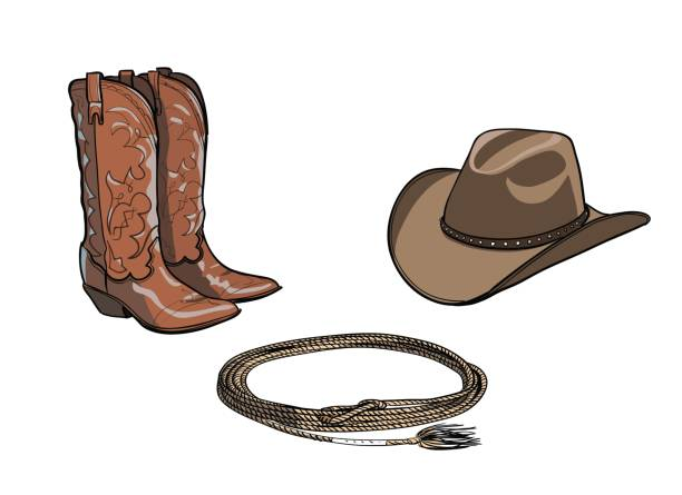 cowboy horse equine riding tack tool. - boot stock illustrations