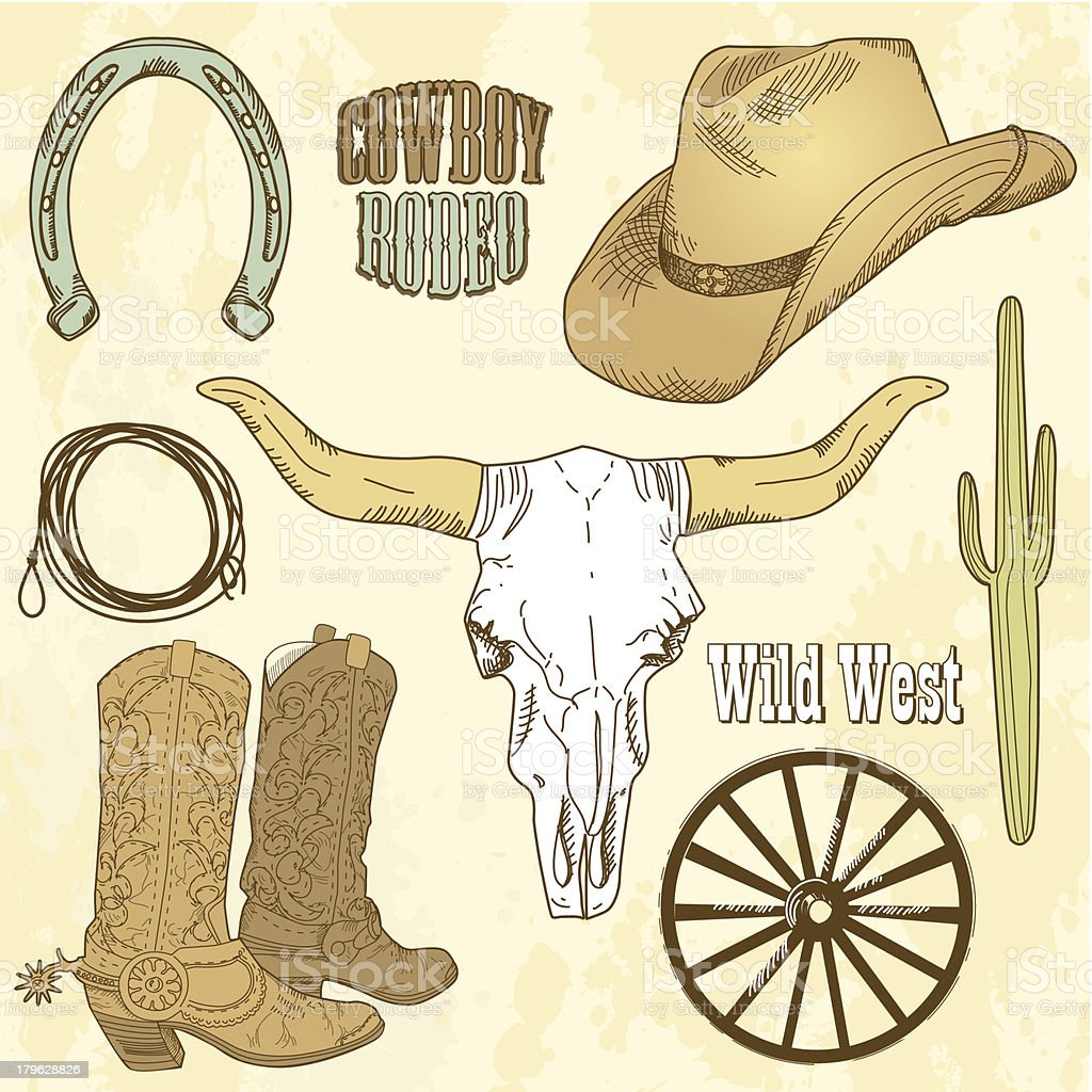 Cowboy Icon Set vector art illustration
